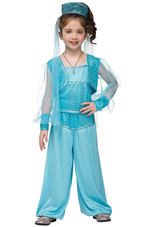 3859ad12c50 Details about Arabian Princess Gown Genie Girls Fairy Tale Fantasy Child  Halloween Costume