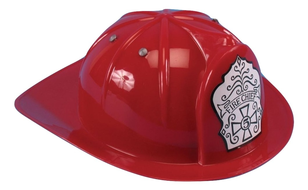 b32996a457f Child Fire Chief Fireman Helmet Hat Costume Toy Firefighter Man Red Hard  Plastic