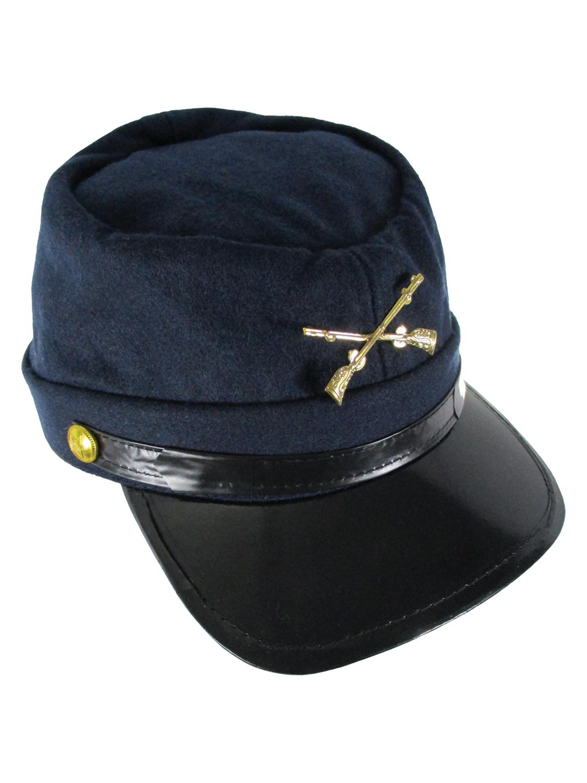 Grey Confederate Hat Soldier Federal Army Kepi Mens Civil War Costume Accessory