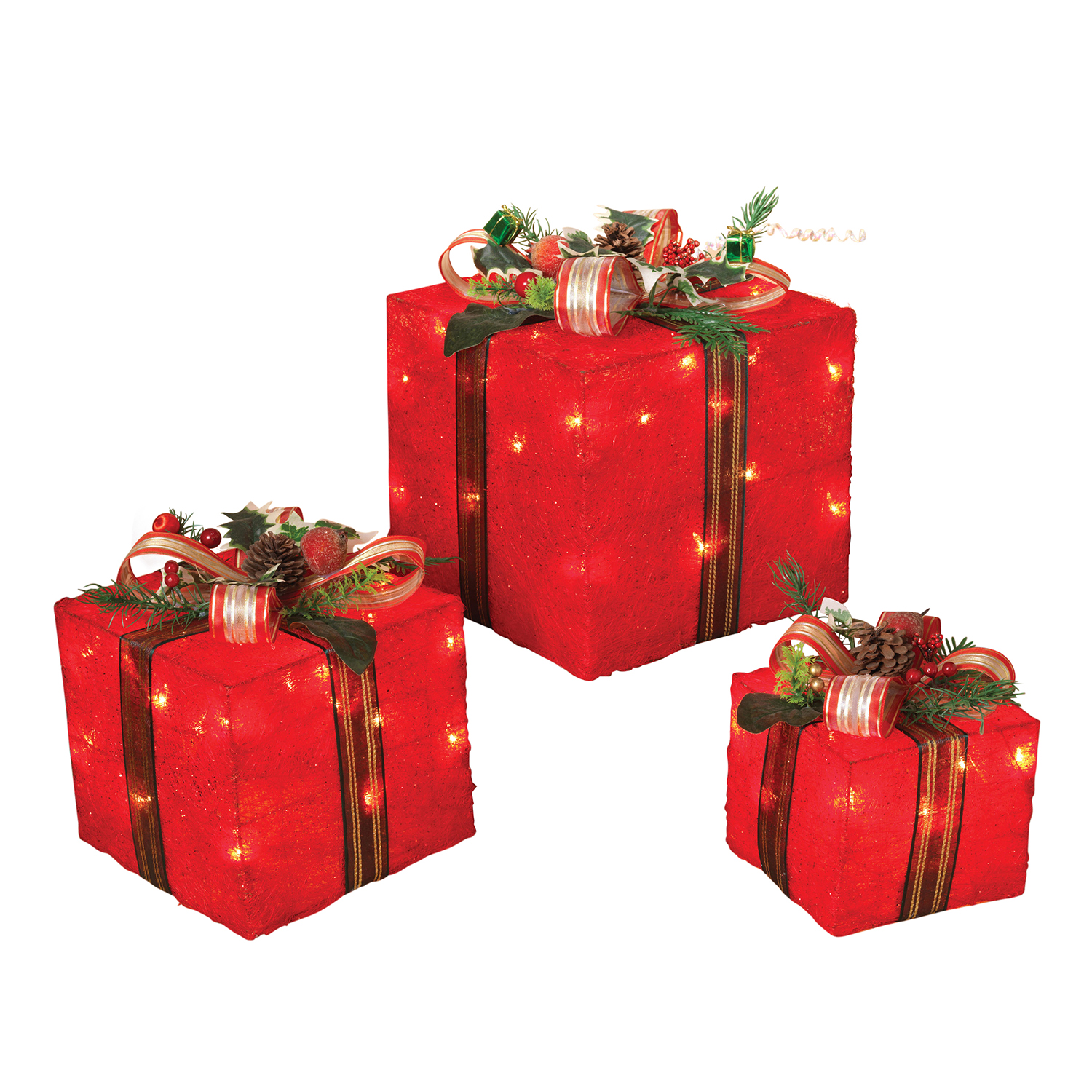 Details About Indoor Outdoor Light Up Red Christmas Gift Boxes Presents Lights Lawn Yard Decor