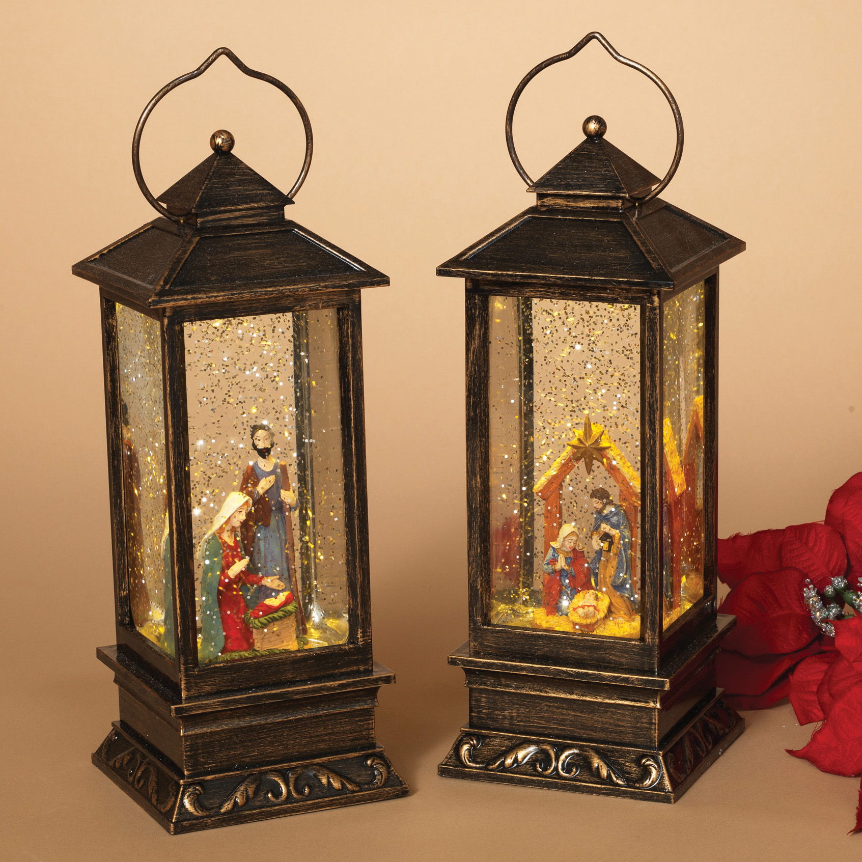 set of 2 lantern christmas nativity spinning water snow globe battery operated - Battery Operated Lanterns