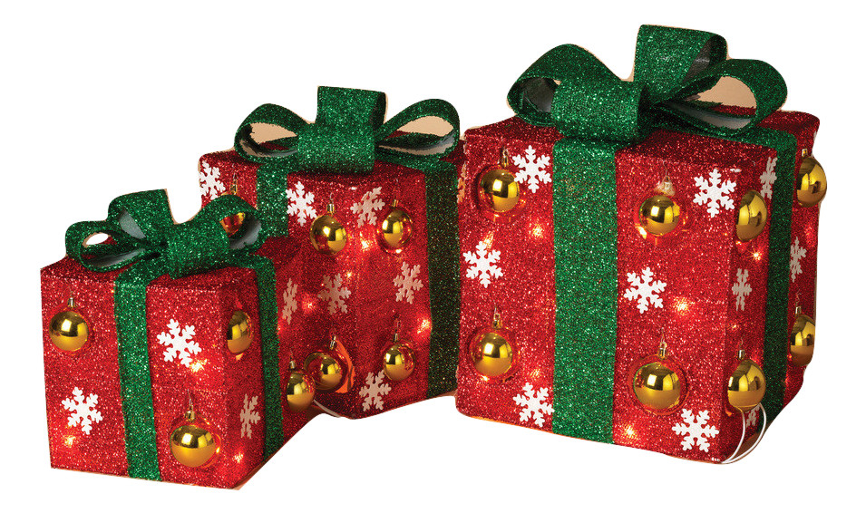 Set Of 3 Lighted Christmas Lighted Gifts Gift Boxes Lights
