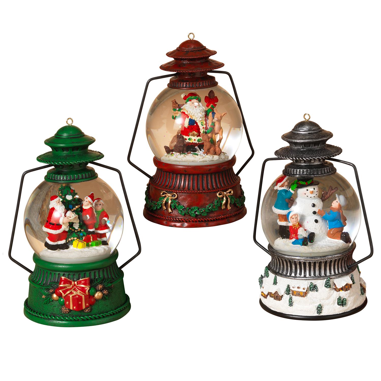 3 pc Light Up Christmas Snow Globe Lantern Fancy Holiday Figurine ...