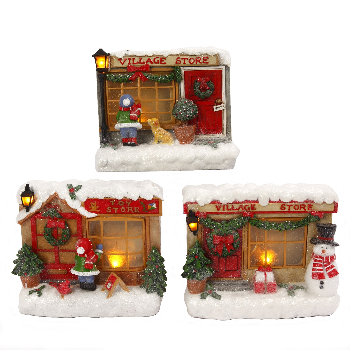 christmas light up 3 pc winter snow town village toy stores led decorations