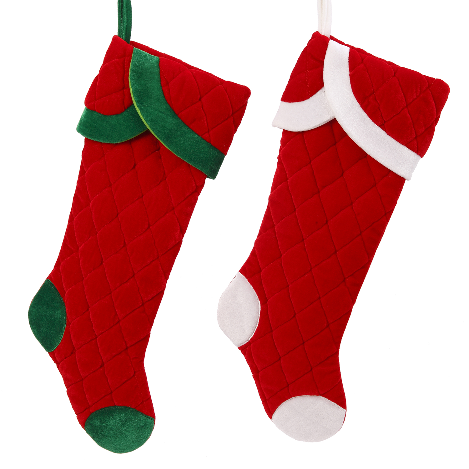 Classic Jumbo Christmas Quilted Velvet Stocking Decoration Holiday ...