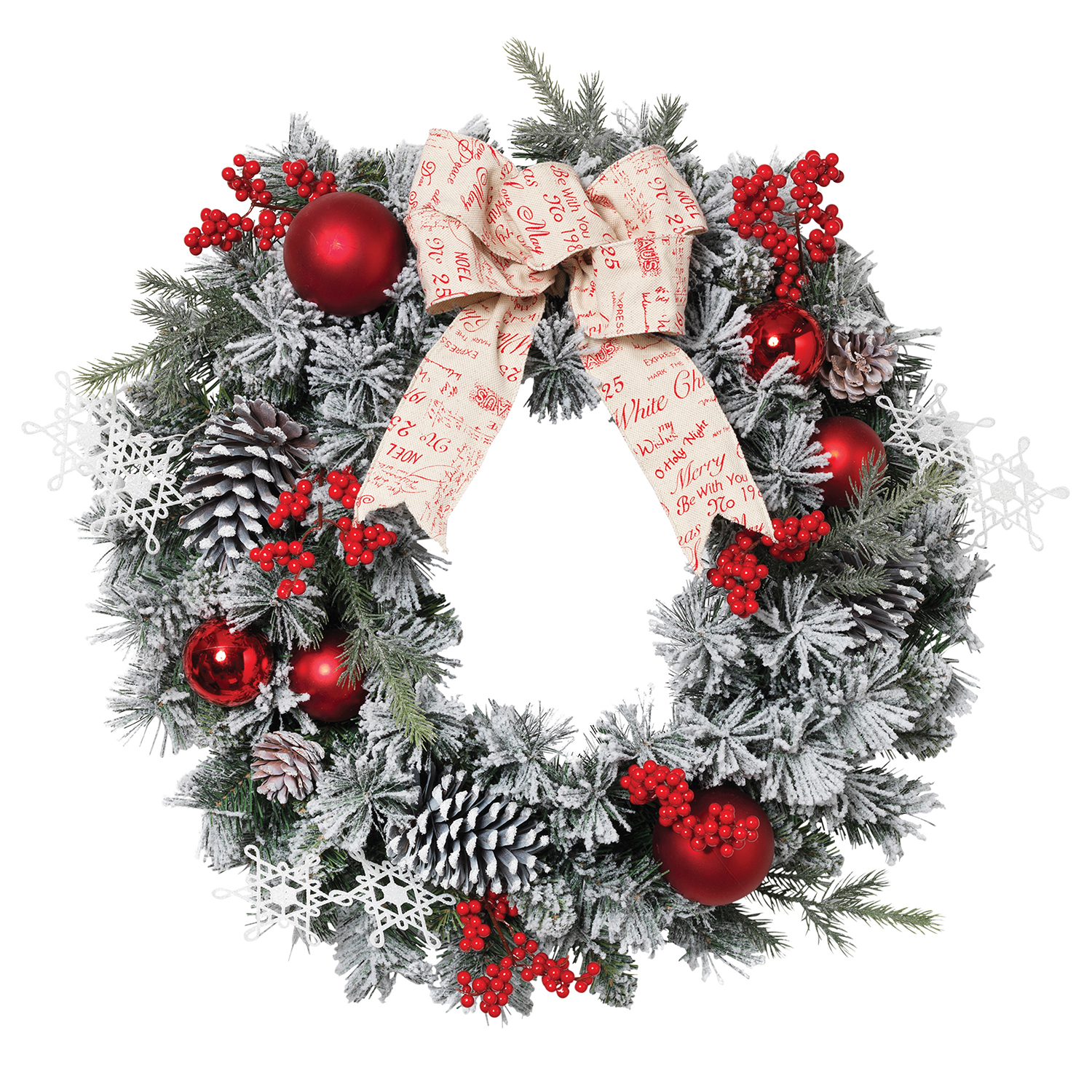 buy online 50943 4f86e Details about 24-Inch Christmas Flocked Pine Wreath With Berries Ornaments  Pine Cones Ribbon