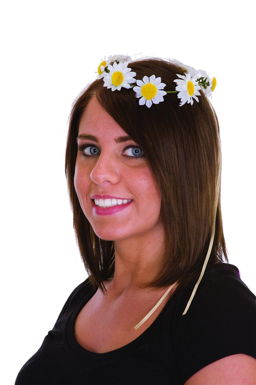 Daisy Headpiece Hippie Girl White Yellow Flower Headband Adult