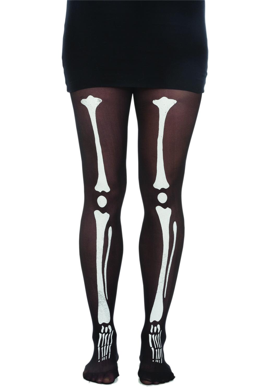 be5ec80a18 Skeleton Bone Bones Tights Pantyhose Costume Womens Black White Tights  Accessory