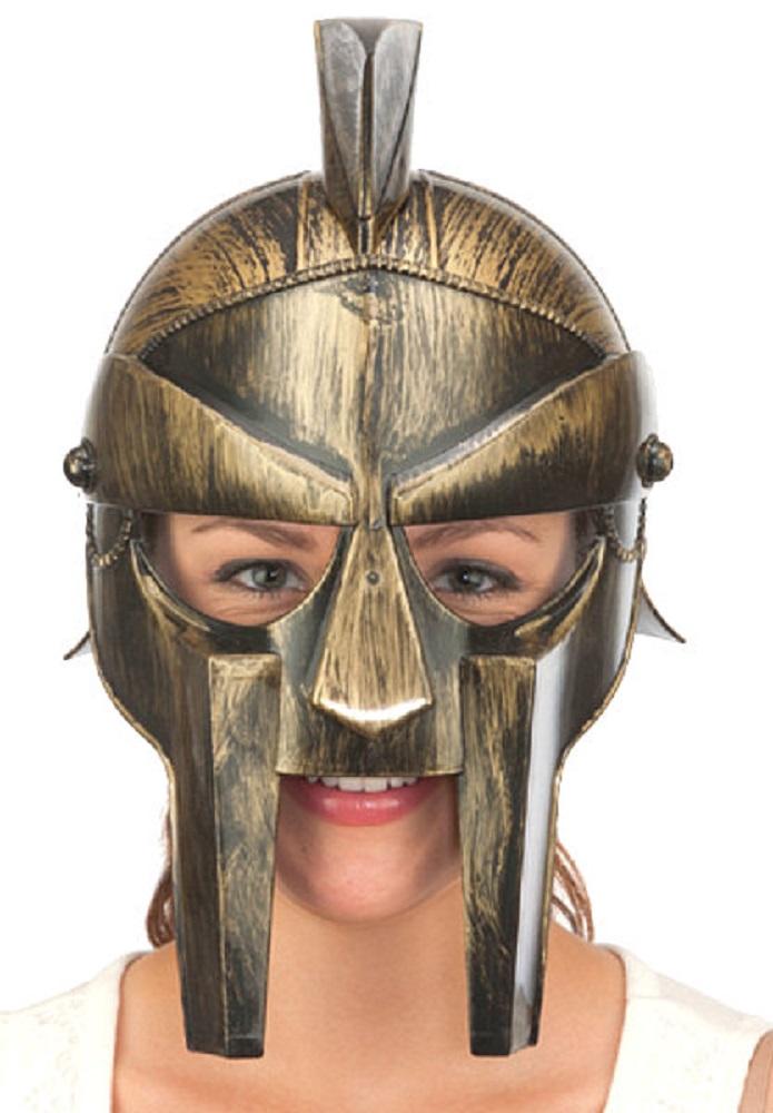a0af69f9028 Details about Roman Spartan Trojan Gladiator Gold Hat Helmet Warrior  Plastic Armor Costume