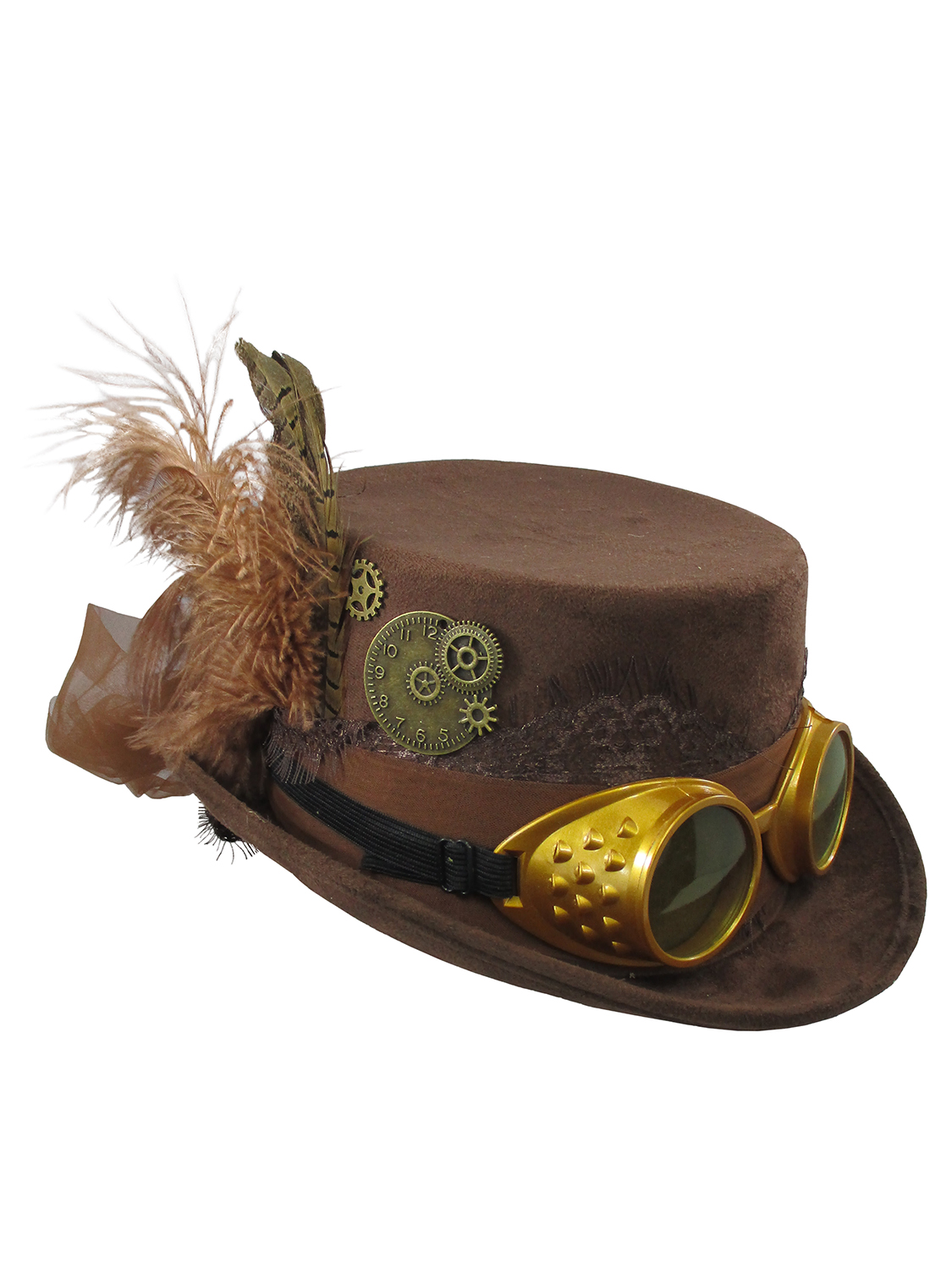 FM75327 Morris Costumes Brown Topper Ribbon Steampunk With Goggles Hat One Size