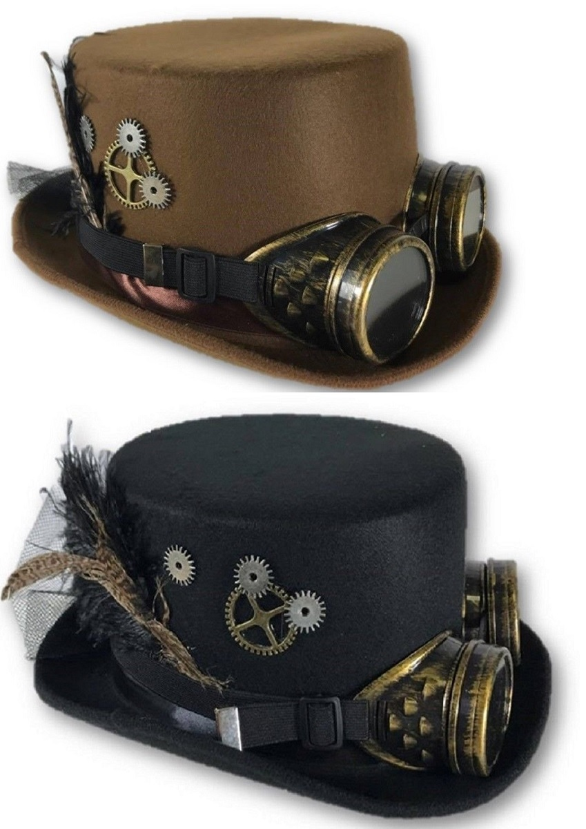 Victorian Deluxe Steampunk Black Brown Top Hat Goggles Gears Feathers  Costume dbe4be4f03b4