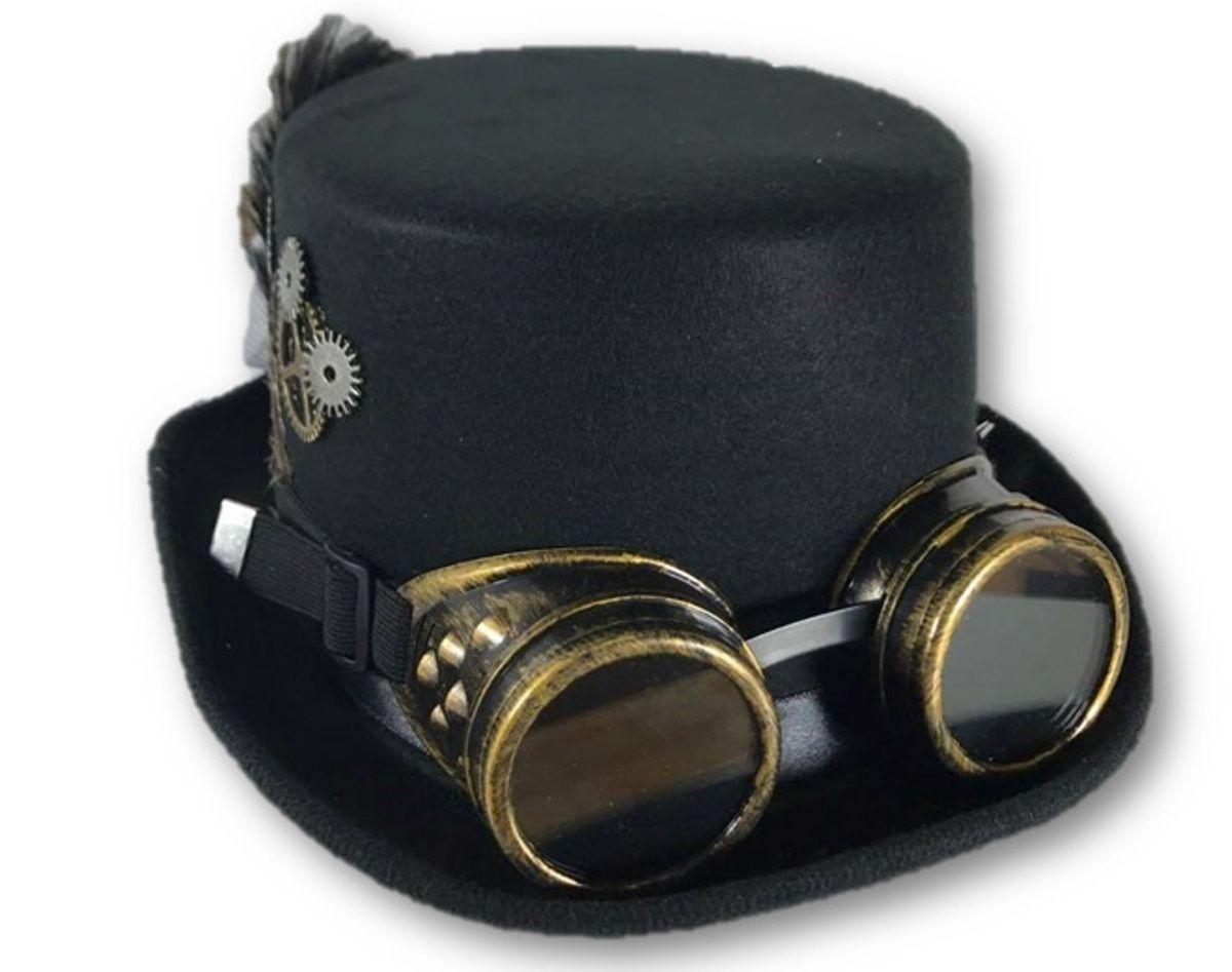 Ladies Deluxe Top Hat Goggles Black Steampunk Victorian Gears Costume  Accessory 3ceb28b1e67c