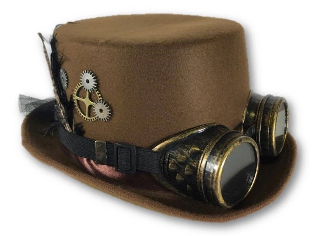 Victorian Deluxe Steampunk Top Hat Goggles Gears Feathers ...