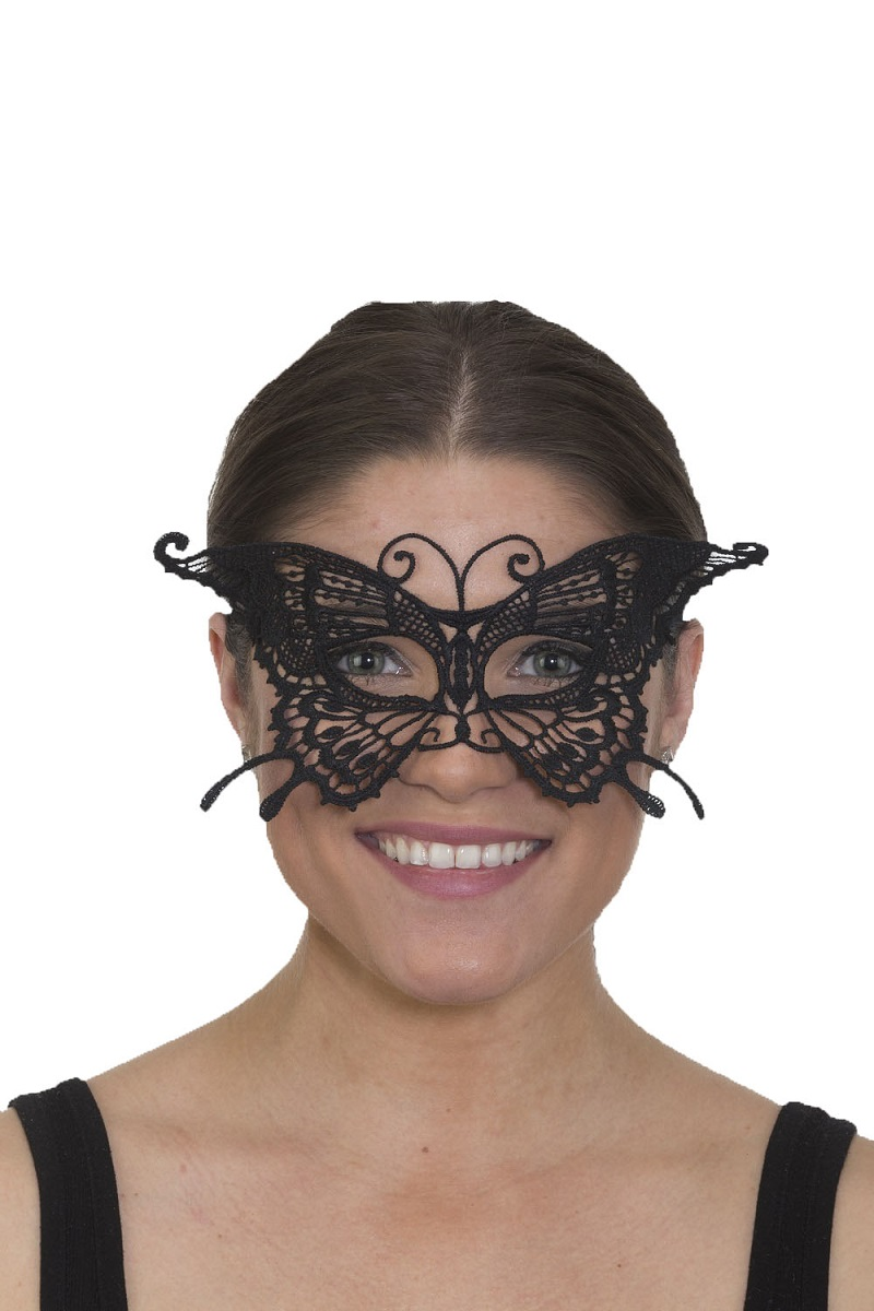 6b92bd6659 Details about Womens Pretty Lace Butterfly Mask Black Half Insect  Masquerade Costume Accessory