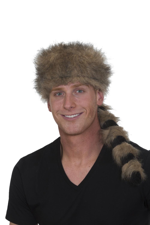Coonskin Hat Cap Raccoon Davy Crockett Daniel Boone Pioneer Frontier Man  Costume 8ed035161eed