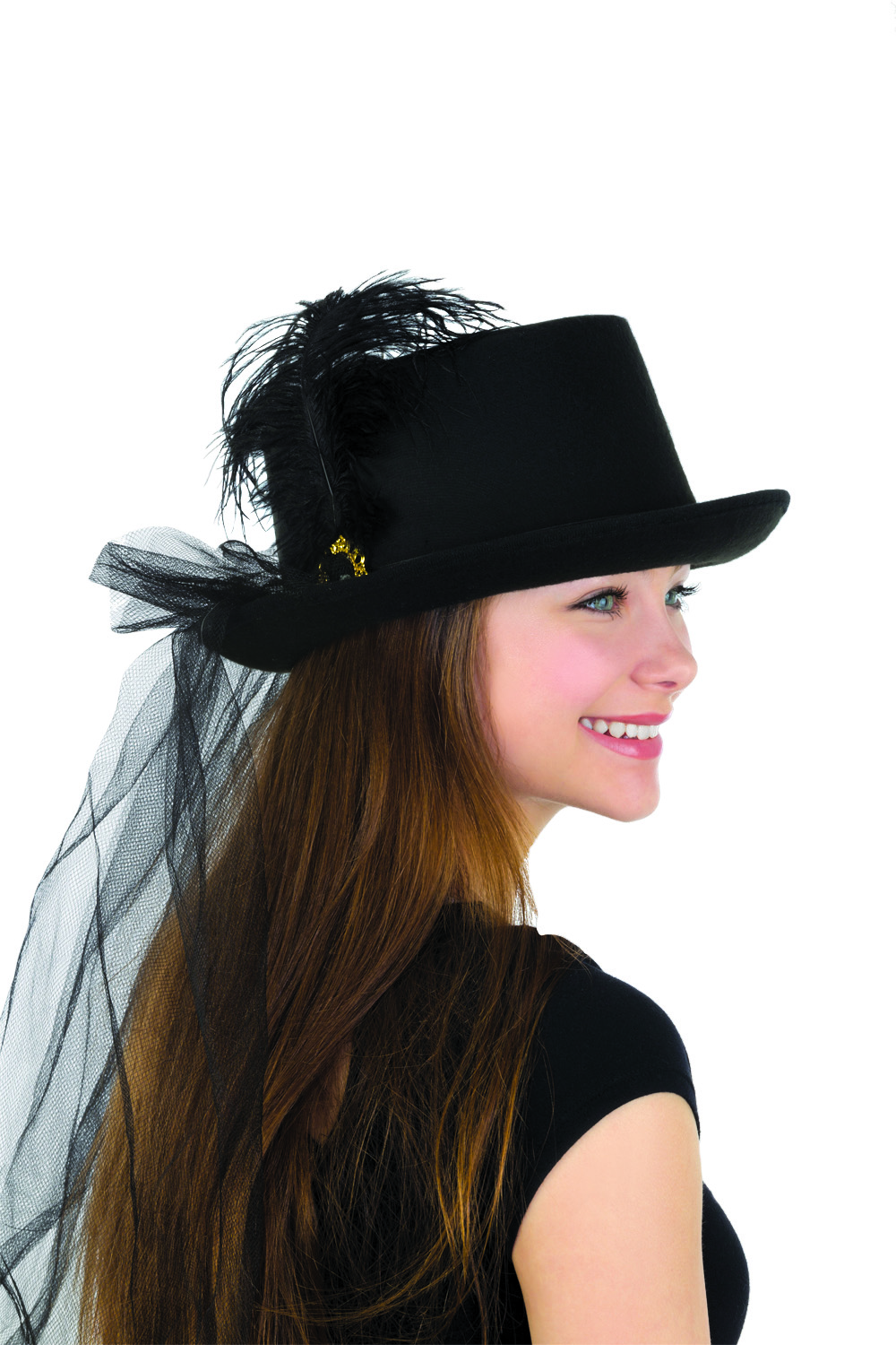 Details about Womens Deluxe Black Felt Top Hat With Plume   Veil Halloween  Costume Accessory fb15b487302