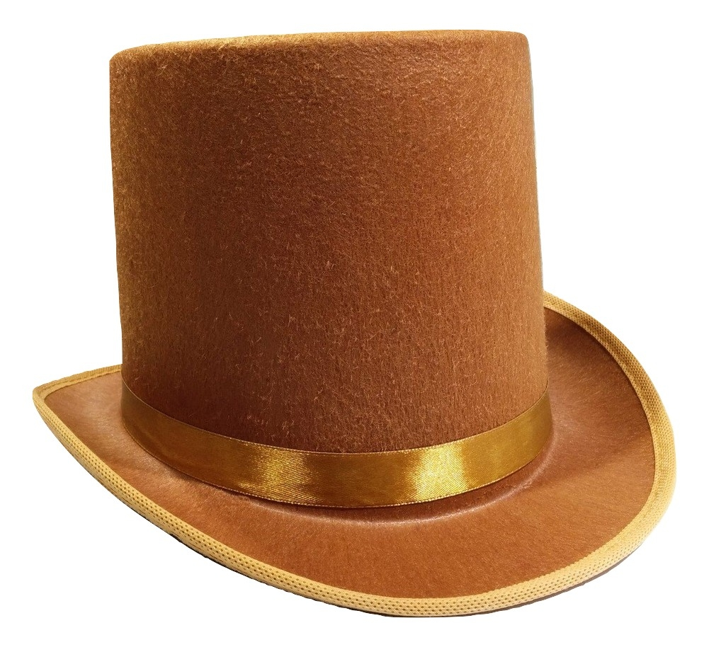 1492a9c03306b Tall Brown Willy Wonka Dickens Caroler Steampunk Coachman Top Hat Topper  Costume