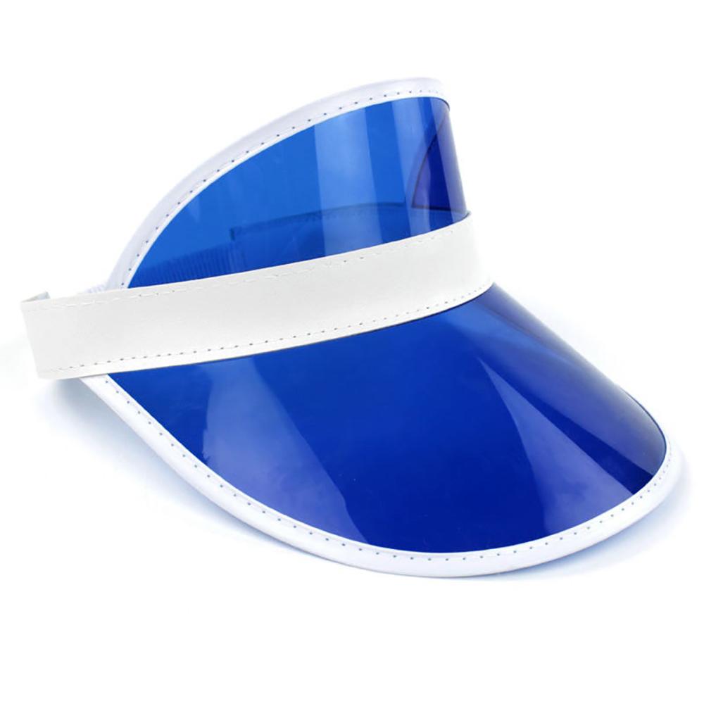 Blue Tennis Beach Colored Plastic Clear Sun Bingo Dealer Golf Visors 24 Pack 1f077993bc1