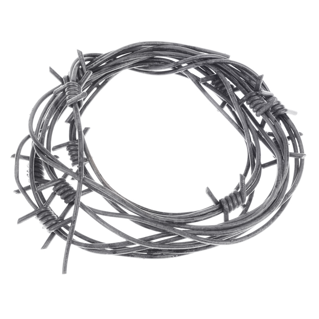 8\' Fake Silver Barbed Barb Wire Halloween Decoration Wire Prop Gray ...