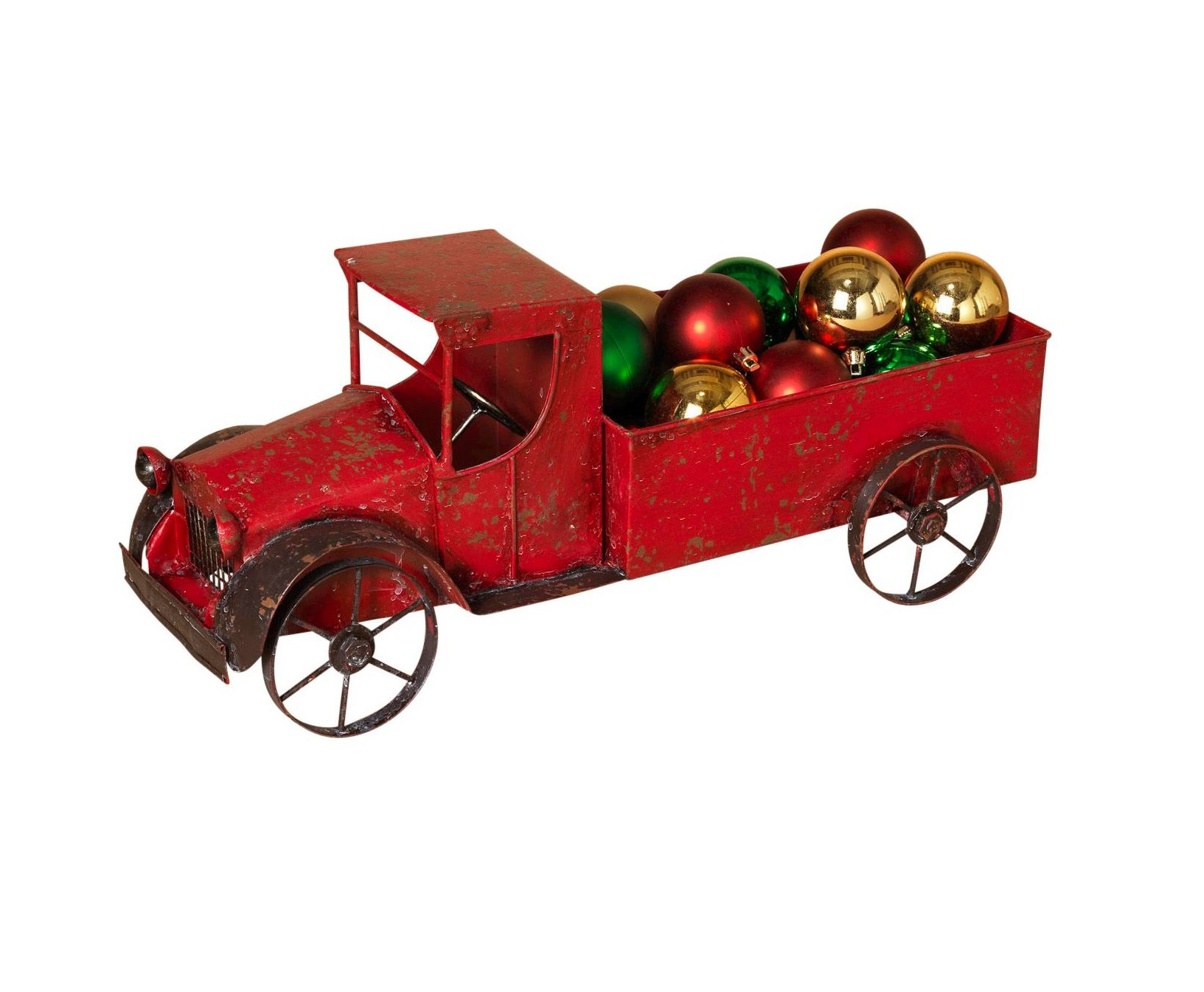 185 antique look red metal work holiday christmas tree truck decoration
