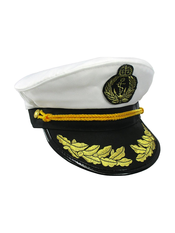 Details about Yacht Captain Hat Sea Skipper White Navy Sailor Cap Costume  Boater Hat Party