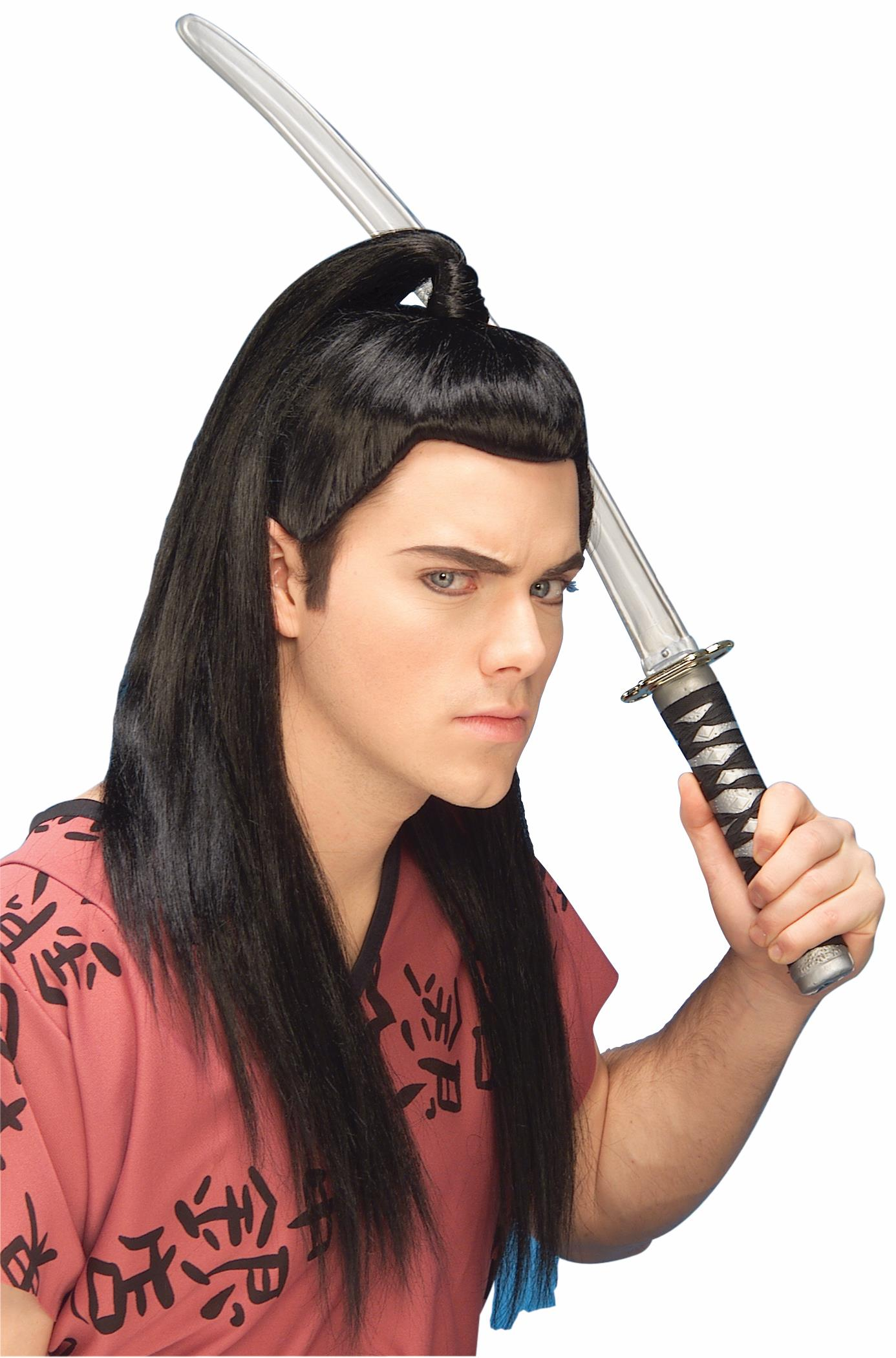 Details About Asian Warrior Costume Accessory Long Black Hair Wig Samurai Ninja Master