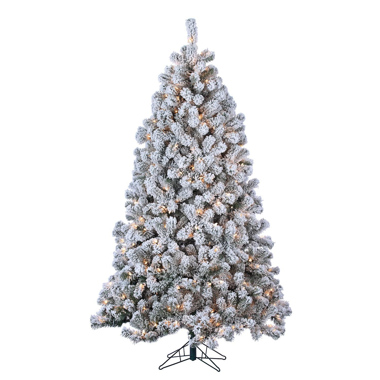 7\' Pre-Lit Flocked Green PVC Montana Pine Christmas Tree 500 Clear ...