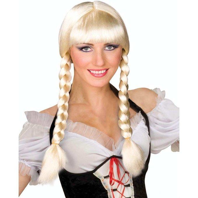 womens blonde bavarian dutch girl swiss miss braided hair inga braid