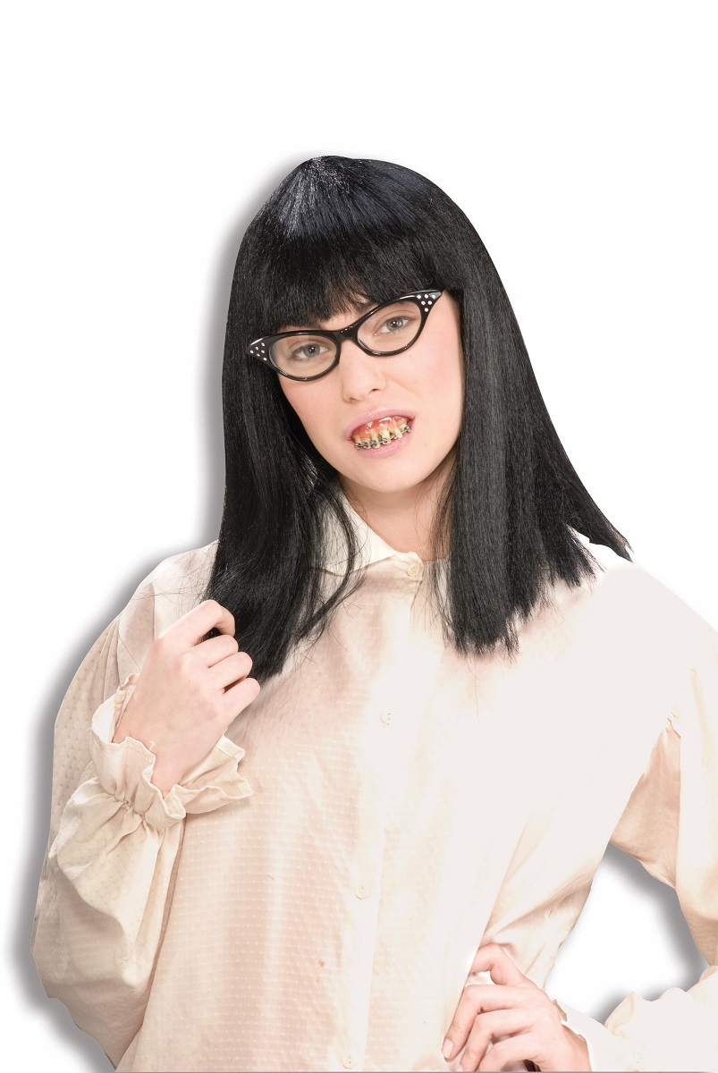 Female Dress Up Nerd Kit Geek Set Ugly Betty Dork Braces Costume Accessory NEW