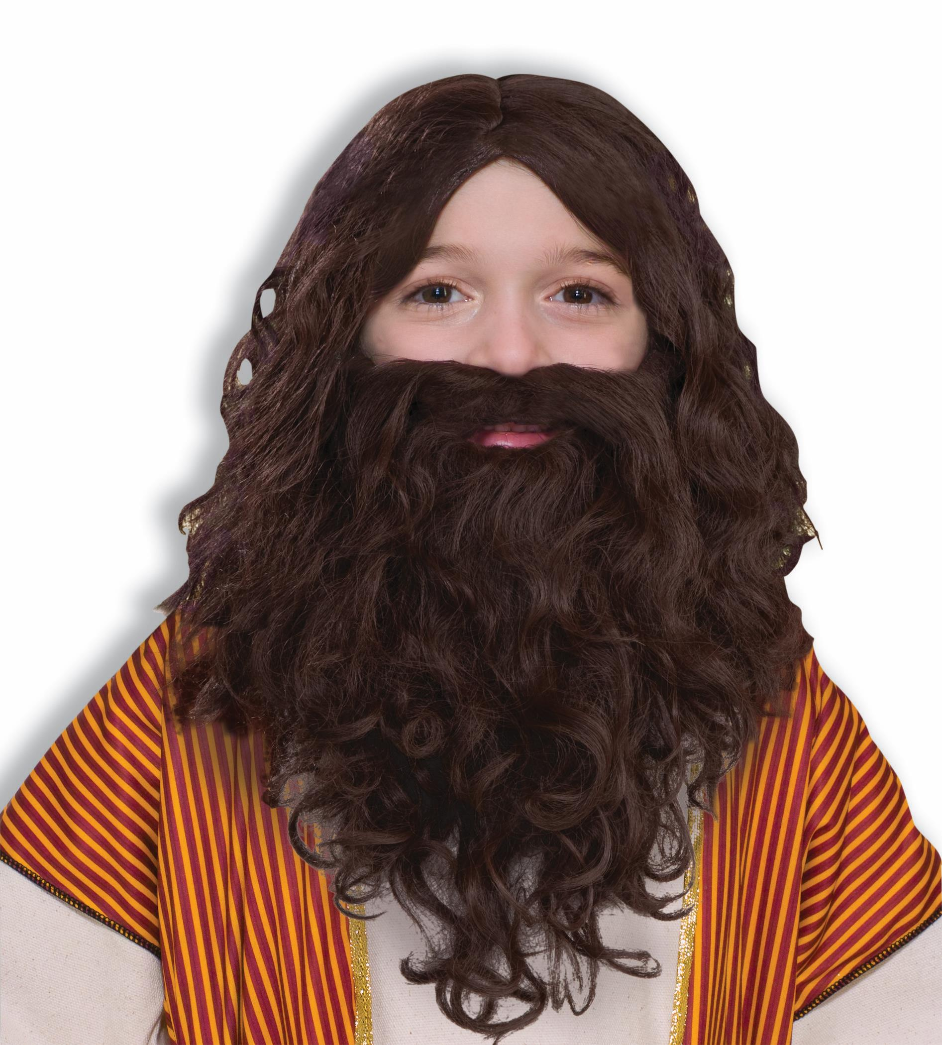 Biblical Jesus Wig Beard Set Child Brown Curly Curls Hair Costume Accessory