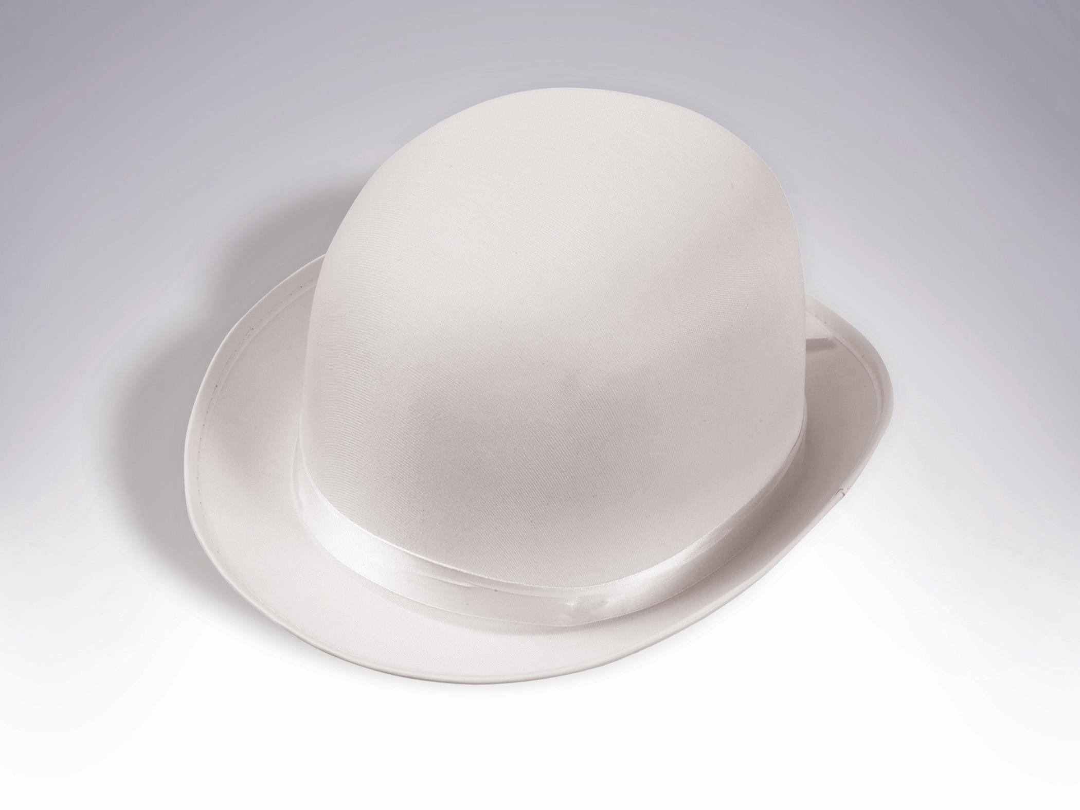 db5cc1a49a067 Roaring 20 S Deluxe Satin Bowler Derby Hat White Adult Costume Accessory