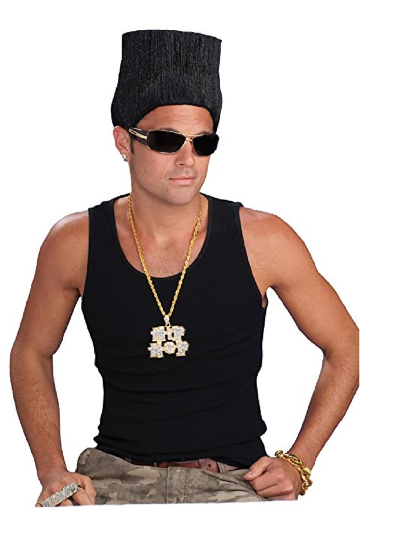 80 S Mens Hip Hop Gangsta High Top Fade Hair Wig Adult