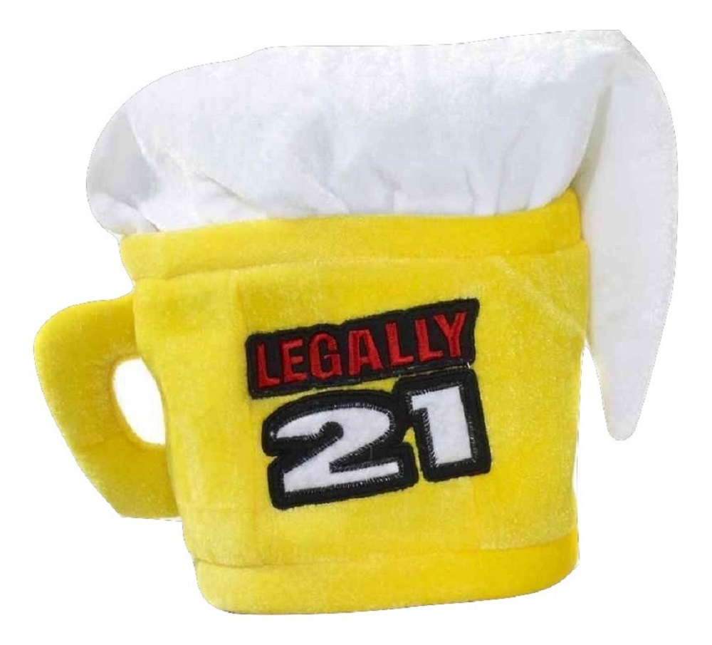 Legally 21 21st Birthday Beer Mug Cup Hat Adult Costume Accessory Yellow NEW