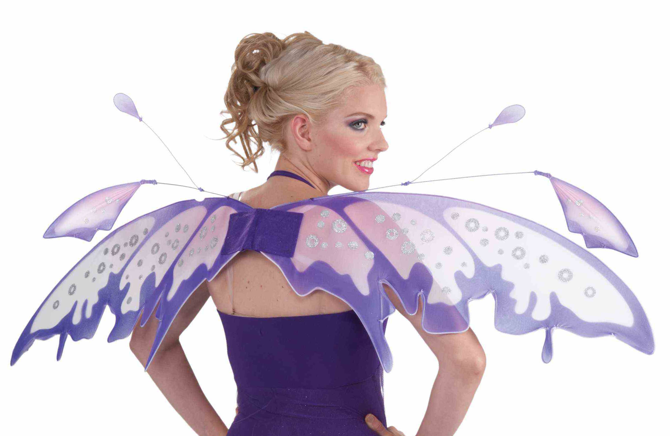Sparkling Blue Fantasy Butterfly Fairy Wings Tinkerbell Womens Costume Accessory