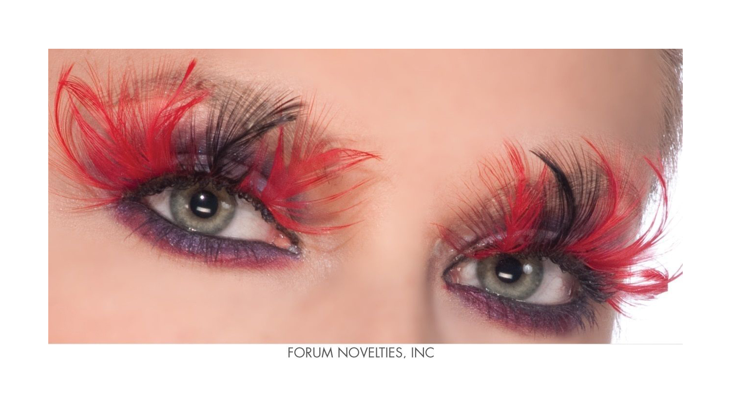 Details about Red Black Feather Devil Eye Lashes Eyelashes Theatrical Makeup Costume Accessory