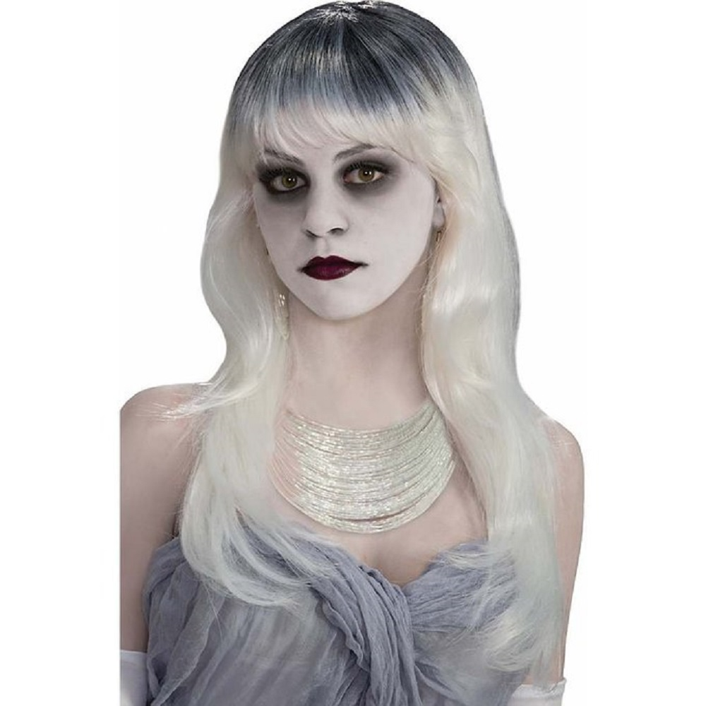 Details about Ghost Ghostly White Black Haunted Long Hair Wig Adult Womens  Costume Accessory a0f8a8544c