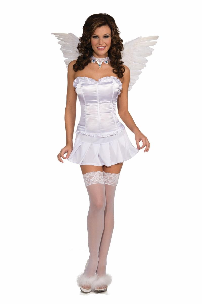 Sexy White Angel Bride Ruffle Corset Showgirl Adult Womens Costume Accessory  sc 1 st  eBay & Sexy White Angel Bride Ruffle Corset Showgirl Adult Womens Costume ...