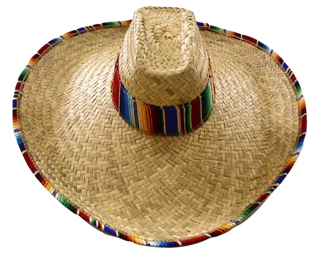Giant Jumbo Straw Waster Western Cowboy Mexican Sombrero Hat Serape Band  Brim d8d2dc937fb