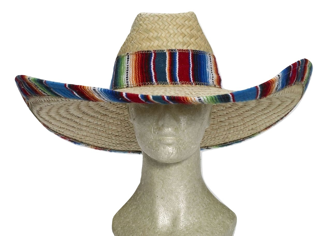 Details about Giant Jumbo Straw Waster Western Cowboy Mexican Sombrero Hat  Serape Band Brim 080f35d6667