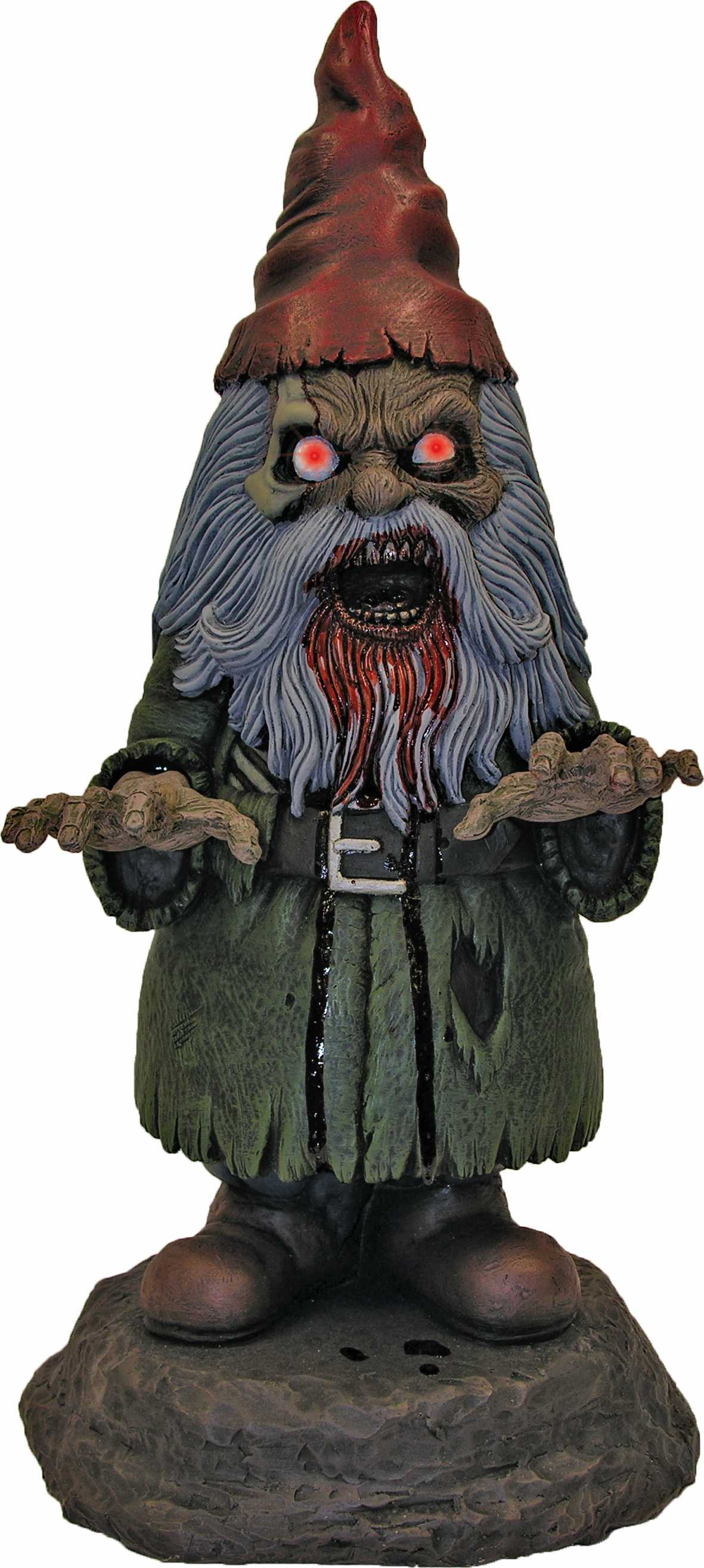 16 light up male garden gnome horror zombie bloody elf for Gnome 3 decoration fenetre