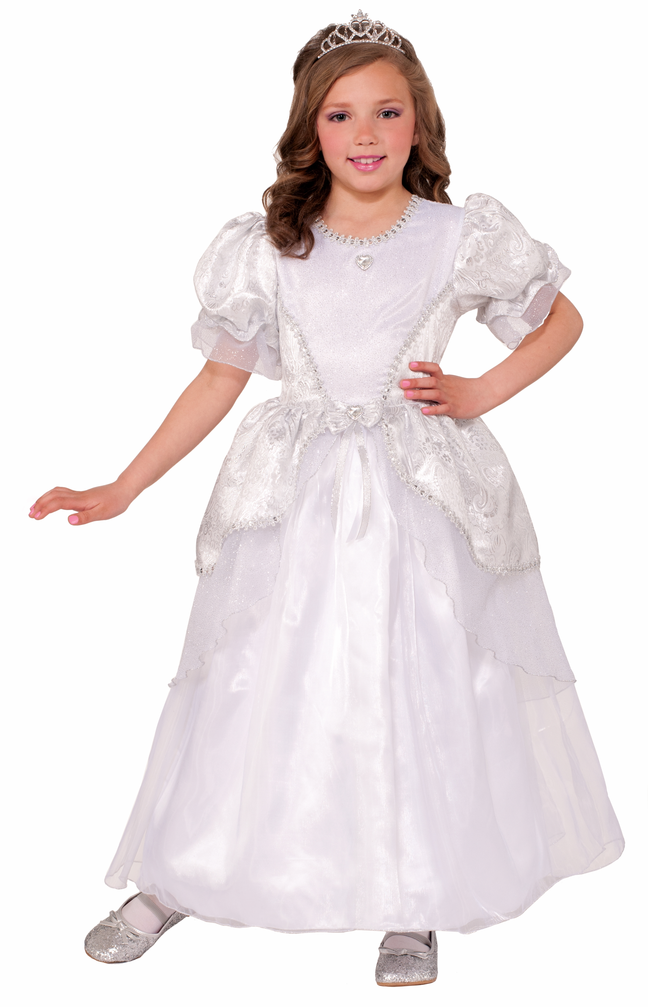 wedding dress halloween costume Deluxe Child Princess Pearl White Wedding Costume Dress Girls Small