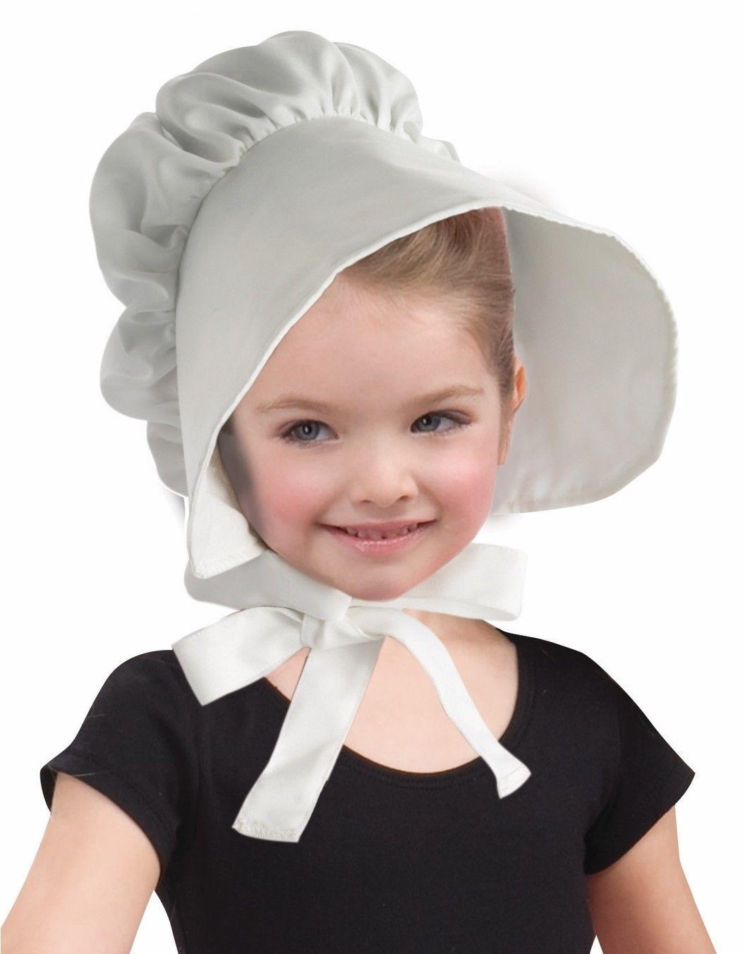 5b4c41ba0e1 Child Girls White Bonnet Puritan Pilgrim Amish Hat Cap Dutch Costume ...