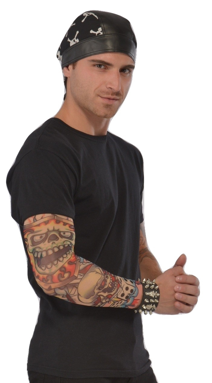 faux tattoo sleeve biker punk skull rocker tattoos