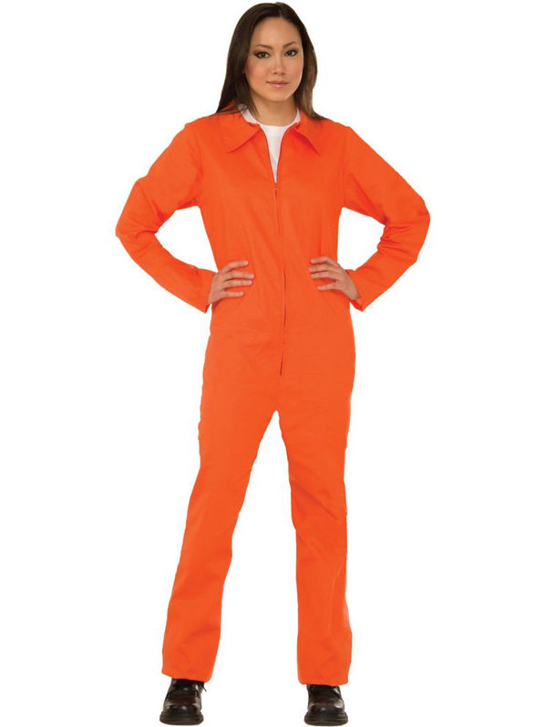 Adult Womens Orange 1 Piece Prisoner Inmate Jumpsuit Prison Outfit ...