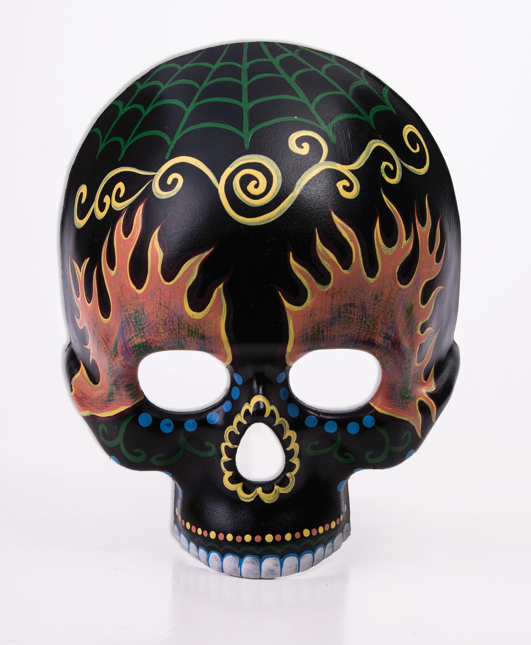 Day Of The Dead Black Sugar Skull Mask Flames Masquerade Costume