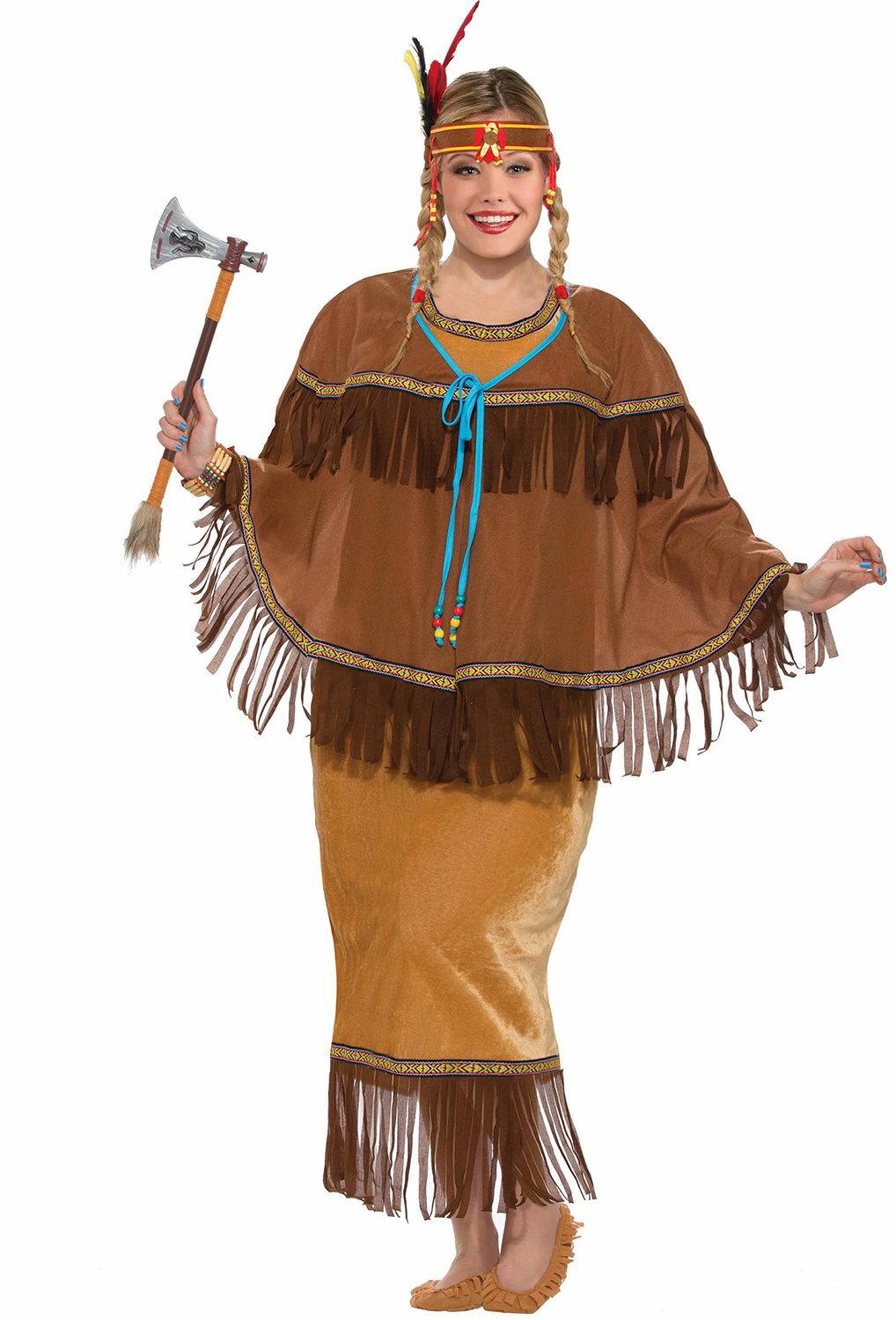 4542f23802b Details about Native American Indian Warrior Pocahontas Adult Womens  Costume Plus Size