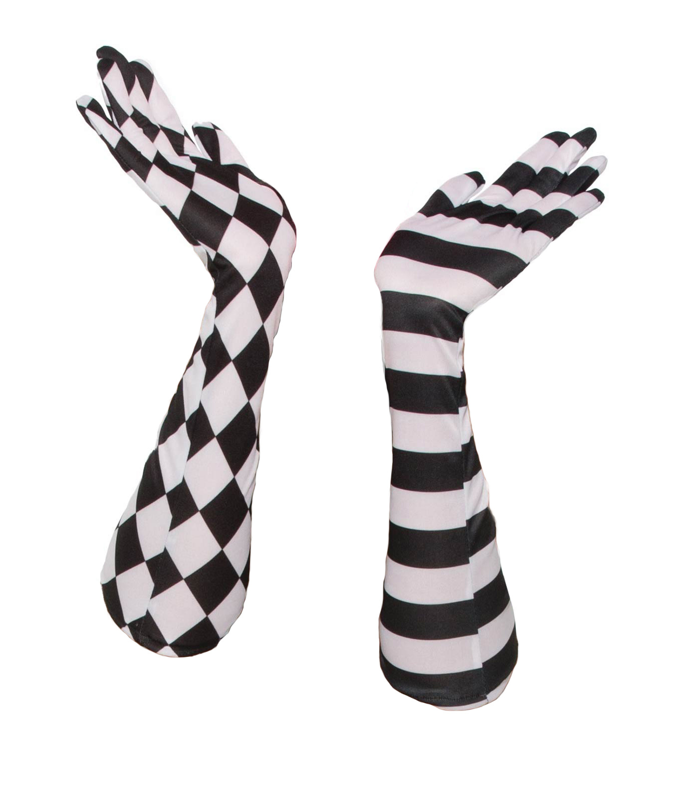 Harlequin Black White Circus Clown Long Elbow Opera Gloves Costume Accessory  sc 1 st  eBay & Harlequin Black White Circus Clown Long Elbow Opera Gloves Costume ...