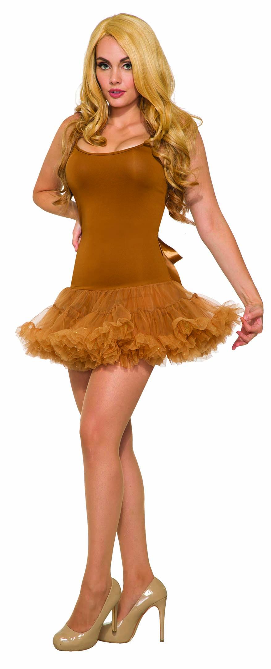 Adult Womens Brown Basic Starter Dress With Crinoline Slip ...