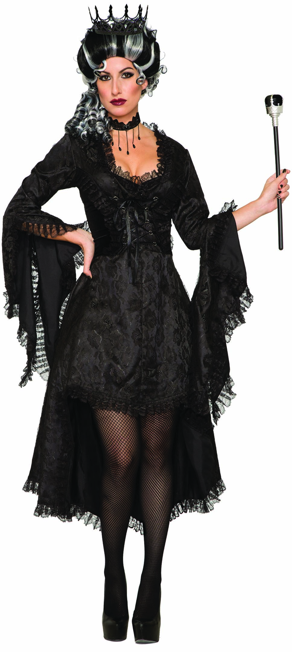 71de98ee694 Details about Dark Royalty Wicked Princess Black Gothic Dress Evil Queen  Witch Womens Costume