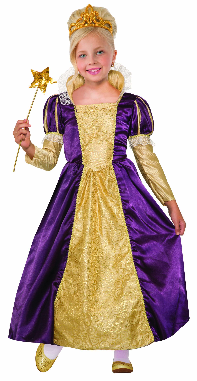 Child Girls Princess Indigo Purple/Gold Fairytale Ball Gown ...